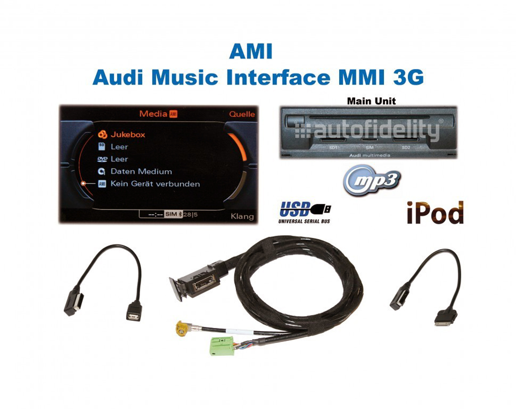 audi music interface with ipod cable for 3g mmi vehicles for audi a6 4g autofidelity. Black Bedroom Furniture Sets. Home Design Ideas